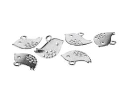 1 Metal Charms Silver Plated Bird Charm Flat 12mm