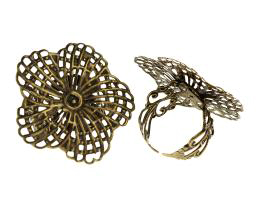 1 Adjustable Ring Blank Bronze Filigree Rings 19mm