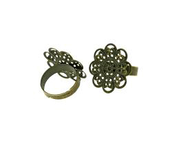 1 Adjustable Ring Blanks Bronze Filigree Ring 18mm