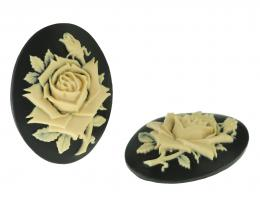 1 Cameos Acrylic Black Ivory Roses Large 40mm