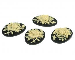 1 Cameos Acrylic Black Ivory Roses Resin 25mm