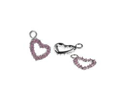 1 Metal Charms Pink Rhinestone Heart Charms 19mm