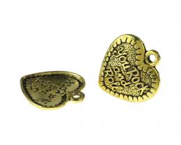 1 Pendants Metal Gold Rock Roll Heart Pendant 30mm
