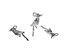 1 Metal Charms Silver Bird Charms 27mm