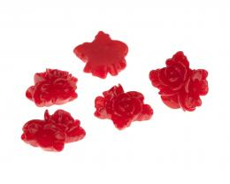 1 Resin Cabochons Red Flowers Flat Backed 17mm