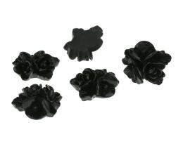 1 Resin Cabochons Black Flowers Flat Backed 17mm