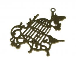 1 Pendants Metal Bronze Bird Cage Silhouette 54mm