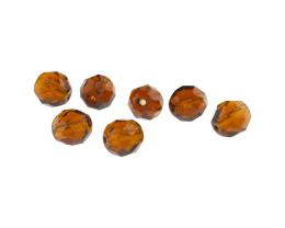 1 Vintage Czech Glass Beads Smoked Topaz Bead 8mm