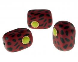 1 Handmade Polymer Clay Beads Red Leopard Radios