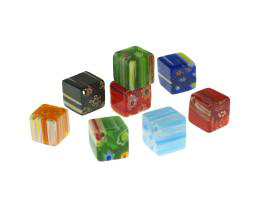 20 Glass Beads Millefiori Cube Mixed Beads 10mm