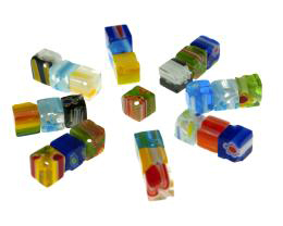 20 Glass Beads Millefiori Cube Mixed Bead 6mm