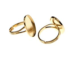1 Adjustable Ring Blanks Gold Cabochon Rings 19mm