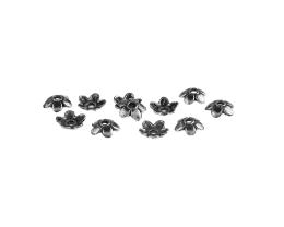 10 Bead Caps Antique Silver Flower Bead Cap 6mm