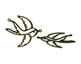 1 Jewellery Connectors Bronze Swallow Birds 36mm