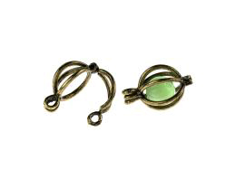 5 Bead Cages Bronze Hinged Drop Earrings 19mm