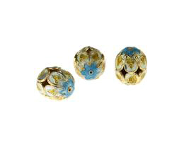 1 Metal Beads Cloisonne Turquoise Gold Flower 15mm