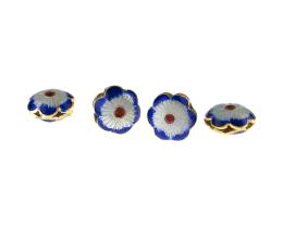 1 Metal Beads Blue Cloisonné Flower Bead 12.5mm