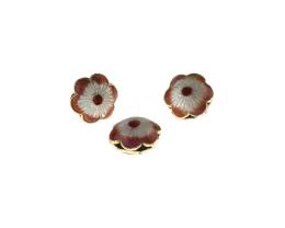1 Metal Beads Cloisonné Orange Flower Bead 12.5mm