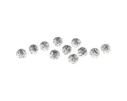 10 Metal Beads Silver Plated Hollow Filigree 8mm