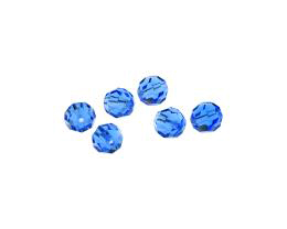 5 Preciosa Crystal Beads Sapphire Rounds 8mm