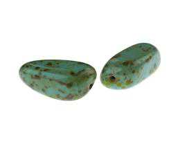 1 Czech Glass Beads Turquoise Travertine Bead 33mm