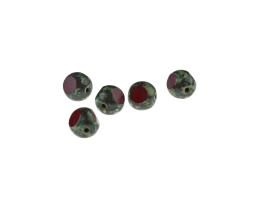 1 Czech Glass Beads Red Picasso 3 Cut Rounds 8mm