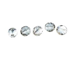 5 Czech Glass Beads Clear Grey Velvet Rounds 10mm