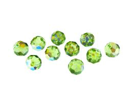 1 Vintage Czech Glass Beads Peridot Green Bead 8mm