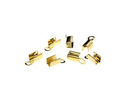 10 Fold Over Cord Ends Gold Plated Crimps 10mm