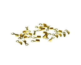 25 Fold Over Cord Ends Gold Plated Crimps 7mm