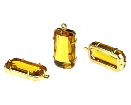 1 Vintage Pendants Glass Topaz Brass Drops 27mm