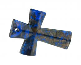 1 Blue Gold Lampwork Cross Pendants 53mm x 37mm