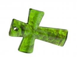 1 Green Lampwork Cross Pendants 53mm x 37mm