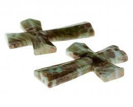 1 White Green Lampwork Cross Pendants 53mm x 37mm
