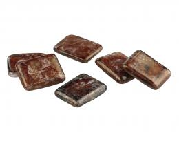 1 Vintage Cabochons Glass Red Brown Picasso 15mm