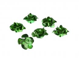 10 Aluminium Flowers Embellishments Green 15mm