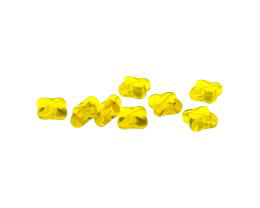 10 Czech Glass Beads Citrine Pressed Cross 10mm