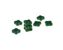10 Czech Glass Beads Emerald Green Cross Bead 10mm