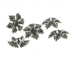 1 Flower Embellishments Acrylic Antique Silver 20mm
