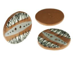 1 Handmade Ceramic Buttons Graphic Terracotta 28mm