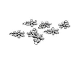 1 Metal Charms Antique Silver Flower Charm 13mm
