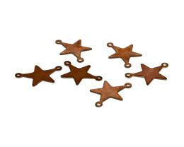 1 Vintage Connectors Solid Copper Star Charms 17mm