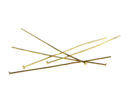 50 Vintage Head Pins Gold Plated Headpins 50mm