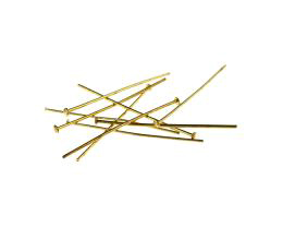 50 Vintage Head Pins Gold Plated Headpins 32mm
