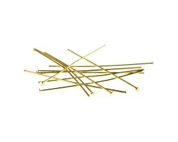 50 Vintage Head Pins Gold Plated Headpins 38mm
