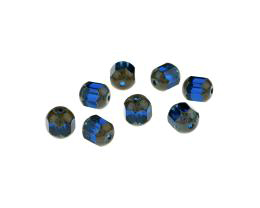 5 Czech Glass Beads Deep Aqua Faceted Picasso 8mm