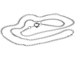 1 Vintage Necklace Chains Silver Plated Curb 45cm
