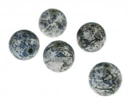 5 Acrylic Beads Silver Black Blue Splatter 16mm