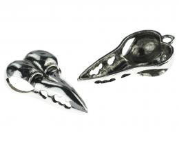 1 Antique Silver Finish Bird Skull Pendants 42mm
