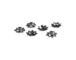 10 Bead Caps Antique Silver Flower Bead Cap 9mm